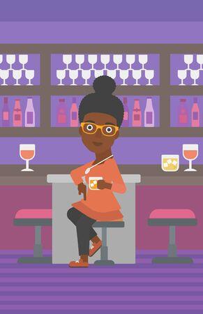 Une femme afro-américaine assis près du comptoir et tenant une illustration de vecteur de design plat de verre. Disposition verticale. Banque d'images - 84475359