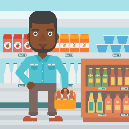 An african-american man standing in the supermarket and holding a pack of beer vector flat design illustration. Square layout.