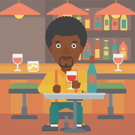 An african-american man sitting at the bar and drinking wine vector flat design illustration. Square layout. Illustration