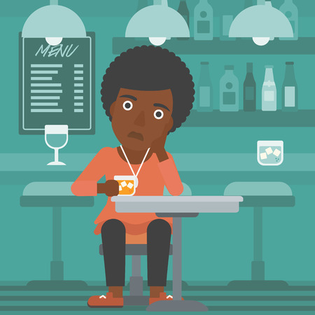 An african-american woman sitting at the bar with a glass vector flat design illustration. Square layout.
