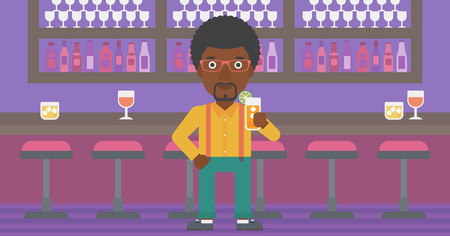 An african-american man standing at the bar and holding a glass of juice vector flat design illustration. Horizontal layout. Çizim