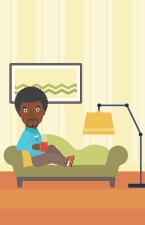 An african-american man lying on sofa in living room and holding a cup of hot flavored tea vector flat design illustration. Vertical layout. Illustration