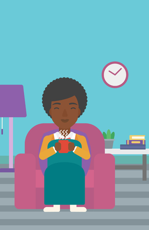 An african-american woman wrapped into a plaid sitting in chair in living room and holding a cup of hot flavored tea vector flat design illustration. Vertical layout.