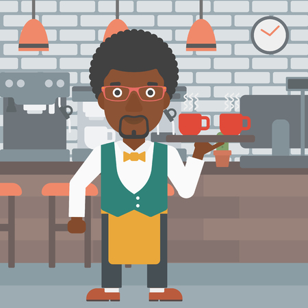 An african-american waiter holding a tray with cups of tea or coffee at the bar vector flat design illustration. Square layout.