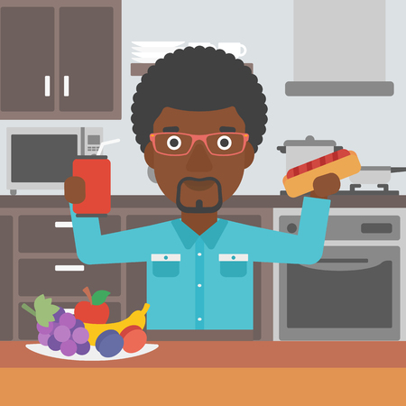 An african-american man holding a hotdog in one hand and soda in another on a kitchen background vector flat design illustration. Square layout.