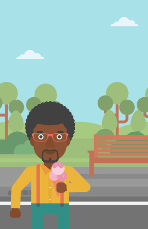 cornet: An african-american man holding a big icecream in hand on a park background vector flat design illustration. Vertical layout.