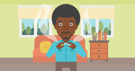 An african-american man breaking the cigarette on the background of living room vector flat design illustration. Horizontal layout. Ilustrace