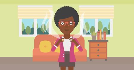 거실의 배경에 담배를 깨는 아프리카 계 미국인 여자 벡터 평면 디자인 일러스트 레이 션. 가로 레이아웃입니다.