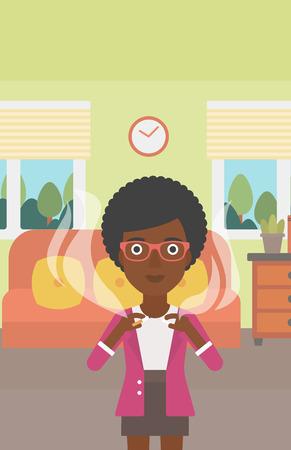 거실의 배경에 담배를 깨는 아프리카 계 미국인 여자 벡터 평면 디자인 일러스트 레이 션. 세로 레이아웃.