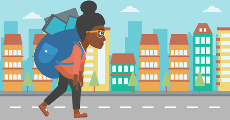 An african-american woman walking with a big backpack full of different devices on a city background vector flat design illustration. Horizontal layout.