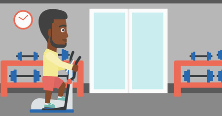 An african-american man exercising on a elliptical machine in the gym vector flat design illustration. Horizontal layout.