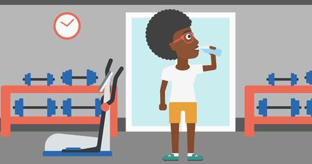 Une femme afro-américaine l'eau potable dans la salle de gym vector illustration design plat. Disposition horizontale.