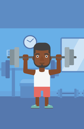 An african-american man lifting a barbell in the gym vector flat design illustration. Vertical layout. Ilustrace