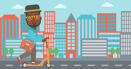 An african-american man with a briefcase riding to work on scooter on city background vector flat design illustration. Horizontal layout.