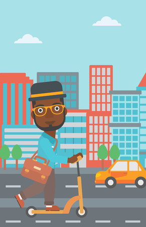 An african-american man with a briefcase riding to work on scooter on city background vector flat design illustration. Vertical layout.