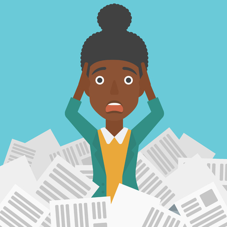 A stressed african-american woman clutching her head because of having a lot of work to do with a heap of newspapers in front of her vector flat design illustration. Square layout.