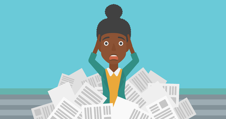 A stressed african-american woman clutching her head because of having a lot of work to do with a heap of newspapers in front of her vector flat design illustration. Horizontal layout.