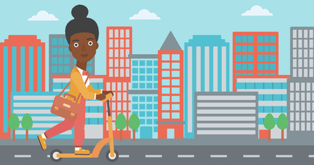 An african-american woman with a briefcase riding to work on scooter on city background vector flat design illustration. Horizontal layout. 向量圖像