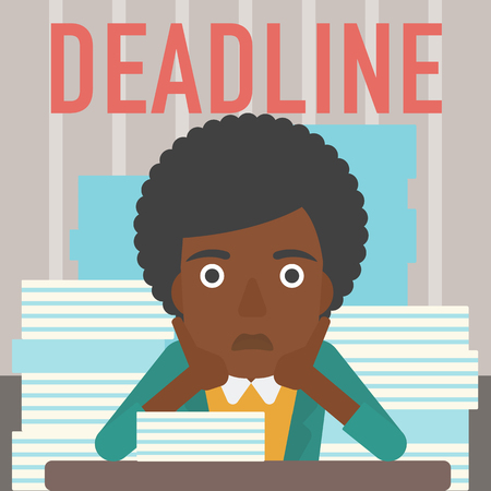 A stressed african-american woman sitting at the table with stacks of papers and having problem with deadline vector flat design illustration. Square layout. Illustration