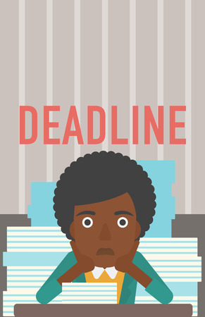 A stressed african-american woman sitting at the table with stacks of papers and having problem with deadline vector flat design illustration. Vertical layout. Çizim