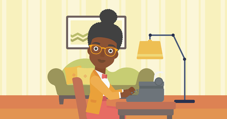 type writer: An african-american reporter writing an article on typewriter on the background of living room vector flat design illustration. Horizontal layout.