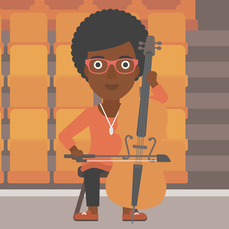 An african-american woman playing cello on the background of empty theater seats vector flat design illustration. Square layout. Vectores