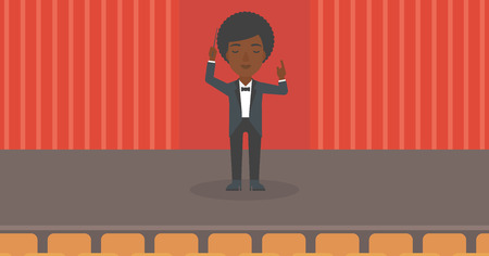 An african-american woman directing with her baton on the stage vector flat design illustration. Horizontal layout. Vettoriali