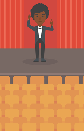 maestro: An african-american woman directing with her baton on the stage vector flat design illustration. Vertical layout.