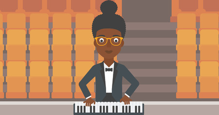 An african-american woman playing piano on the background of empty theater seats vector flat design illustration. Horizontal layout. Illustration