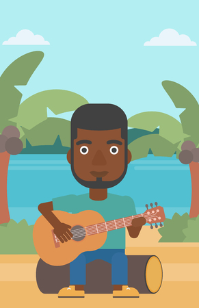An african-american man sitting on a log and playing a guitar on the background of tropical beach with palm trees and the sea vector flat design illustration. Vertical layout.