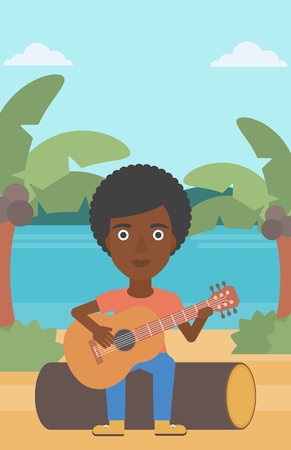 An african-american woman sitting on a log and playing a guitar on the background of tropical beach with palm trees and the sea vector flat design illustration. Vertical layout. Illustration