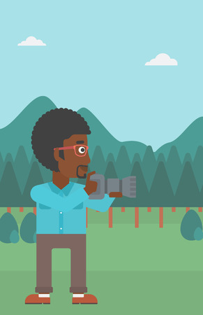An african-american man taking photo on the background of green forest and mountains vector flat design illustration. Vertical layout. Illustration