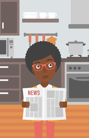 An african-american woman reading the newspaper on the background of kitchen vector flat design illustration. Vertical layout.