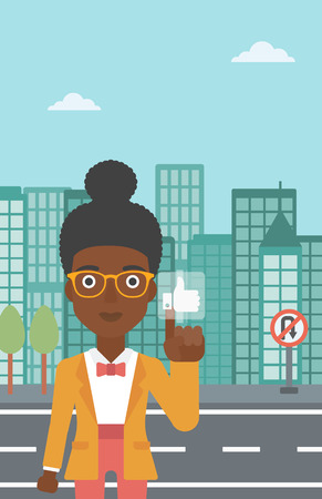 An african-american woman pressing like button on the background of apartment vector flat design illustration. Vertical layout.
