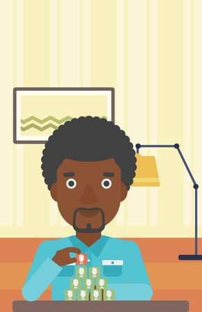 chat room: An african-american man making pyramid of avatars on the background of living room vector flat design illustration. Vertical layout.