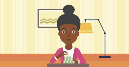 chat room: An african-american woman making pyramid of avatars on the background of living room vector flat design illustration. Horizontal layout.