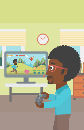 An african-american woman sitting on the couch in living room and watching tv vector flat design illustration. Vertical layout. Illustration