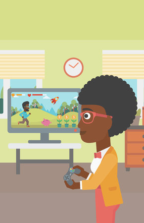 An african-american woman playing video game with gamepad in hands in living room vector flat design illustration. Vertical layout.