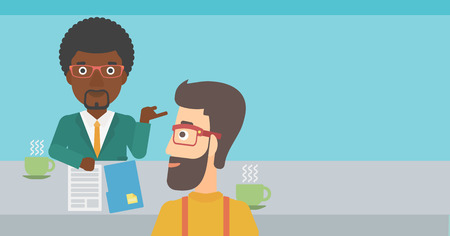 A journalist interviewing an african-american man on a light blue background vector flat design illustration. Horizontal layout.