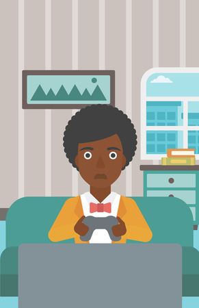 A tired african-american woman sitting on a sofa with gamepad in hands on the background of living room vector flat design illustration. Vertical layout.