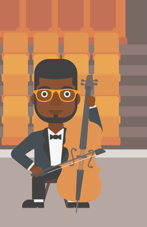 An african-american man playing cello on the background of empty theater seats vector flat design illustration. Vertical layout. Illustration
