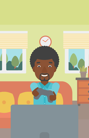 An enthusiastic african-american man sitting on a sofa with gamepad in hands in living room vector flat design illustration. Vertical layout. 向量圖像