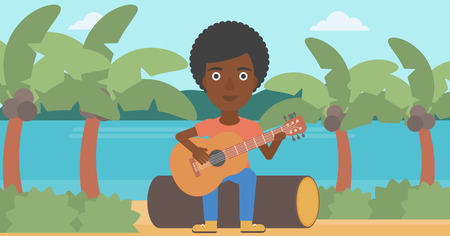 An african-american woman sitting on a log and playing a guitar on the background of tropical beach with palm trees and the sea vector flat design illustration. Horizontal layout.