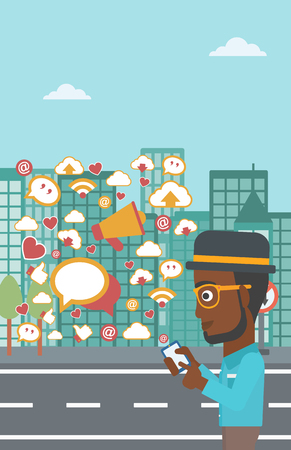 An african-american man using smartphone with lots of social media application icons flying out on a city background vector flat design illustration . Vertical layout.