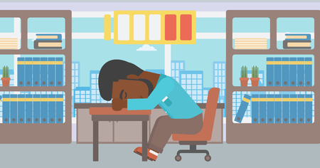 An african-american man sleeping at workplace on laptop keyboard and low power battery sign over his head. Man sleeping in the office. Vector flat design illustration. Horizontal layout. Ilustração