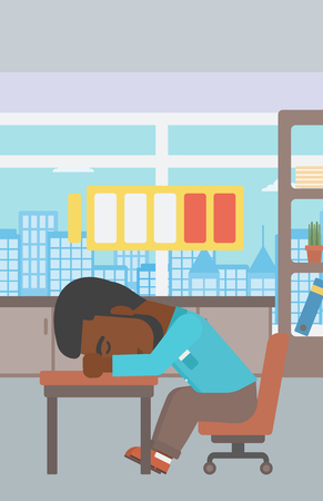An african-american man sleeping at workplace on laptop keyboard and low power battery sign over his head. Man sleeping in the office. Vector flat design illustration. Vertical layout.