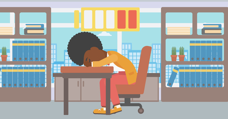 An african-american woman sleeping at workplace on laptop keyboard and low power battery sign over her head. Business woman sleeping in office. Vector flat design illustration. Horizontal layout. Illustration