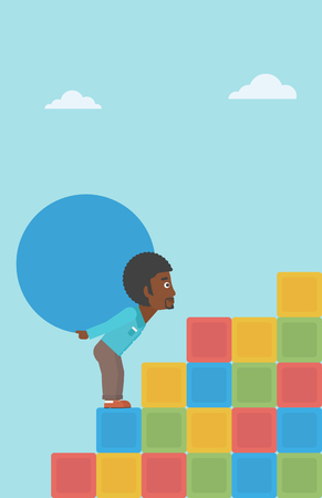An african-american man rising up on the colored cubes and carrying a big stone on his back. Man with huge concrete ball. Vector flat design illustration. Vertical layout.