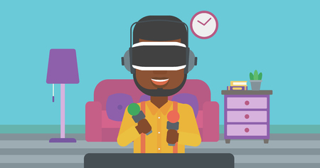 move controller: An african-american man wearing virtual reality headset and holding motion controllers in hands. Man playing video games in apartment. Vector flat design illustration. Horizontal layout.