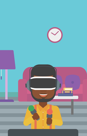 move controller: An african-american man wearing virtual reality headset and holding motion controllers in hands. Man playing video games in apartment. Vector flat design illustration. Vertical layout.